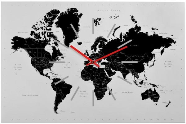 Sompex Clocks - Wanduhr World weiss-schwarz