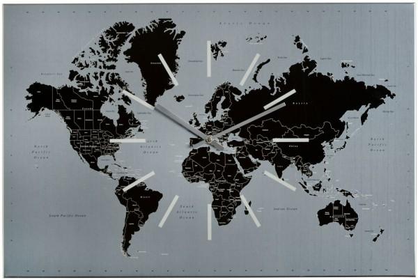 Sompex Clocks - Wanduhr World silber-schwarz